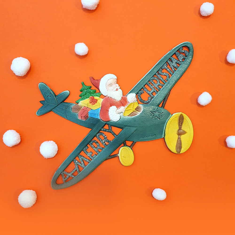 Vintage christmas decor-Santa fly