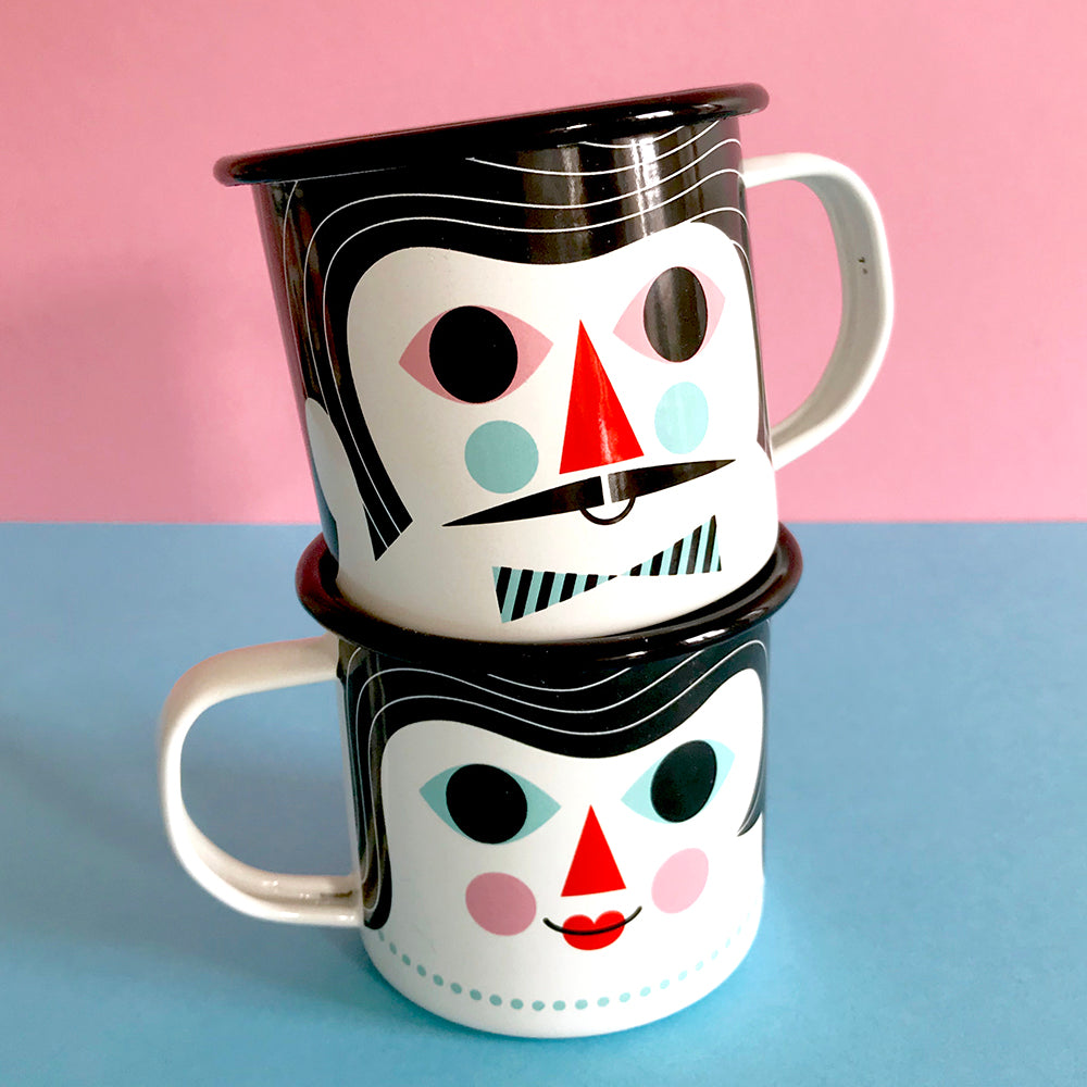 Enamel mug couple - 2 Faces 1 Cup
