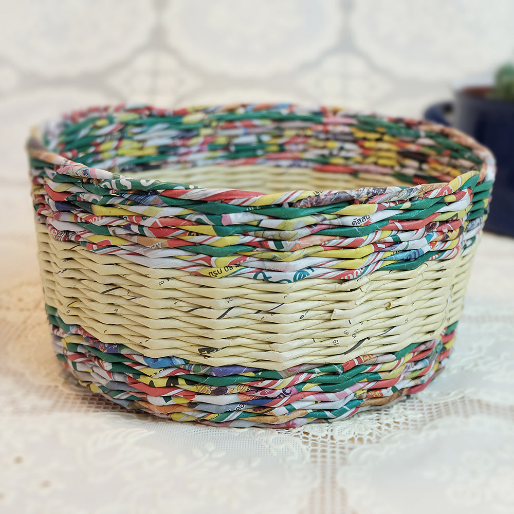 Upcycled handwoven bowl - Summer Made