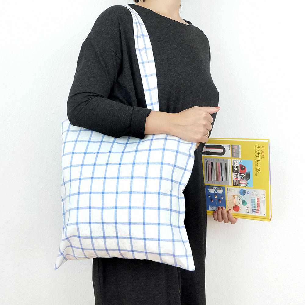 Linen windowpane tote bag - Summer Made
