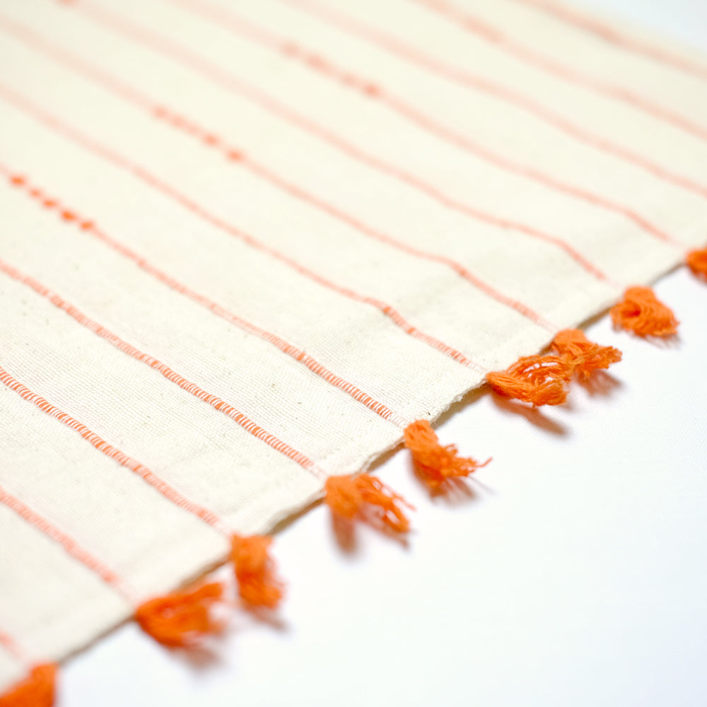 Tote bag with small orange fringes - Summer Made