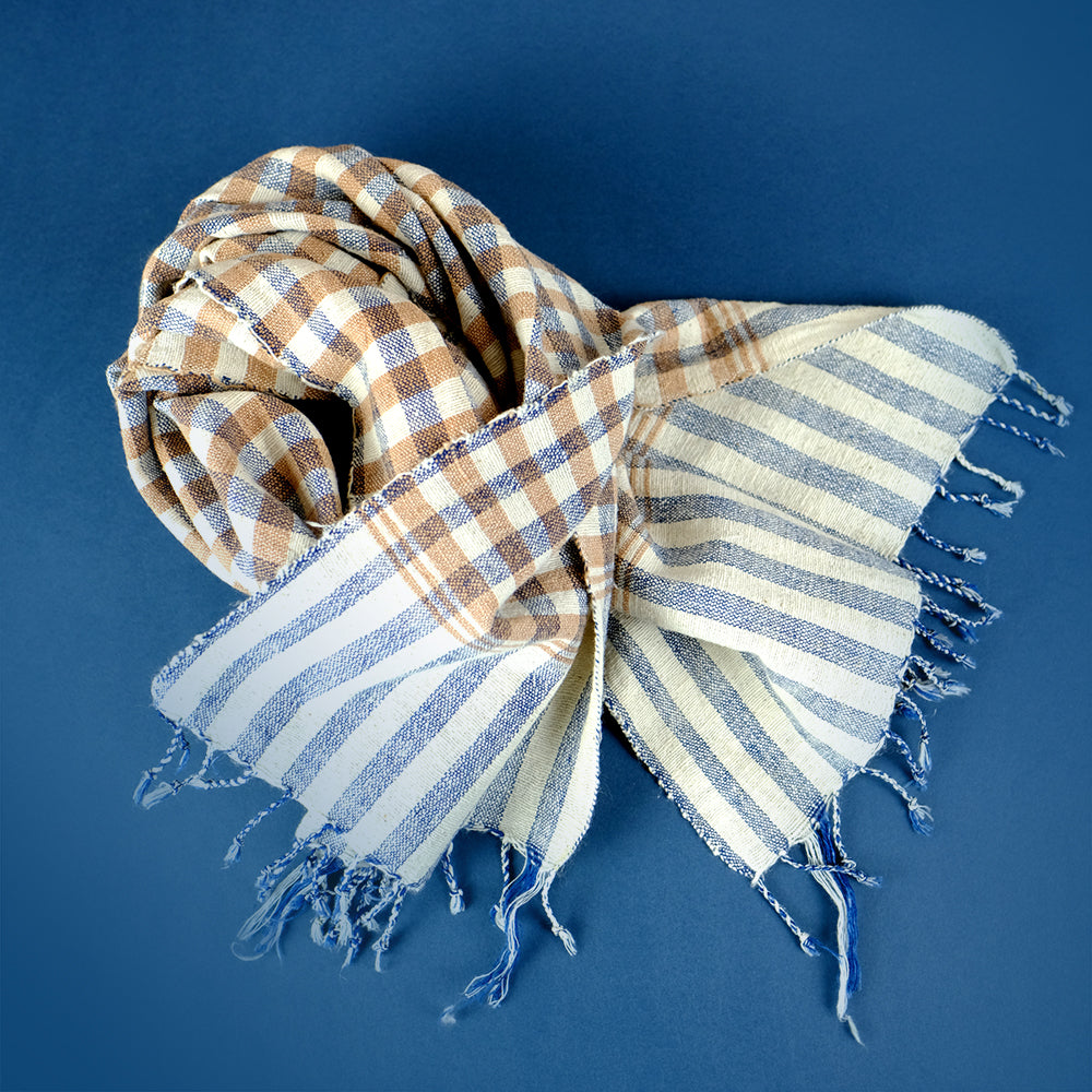 Handwoven natural cotton scarf - Summer Made