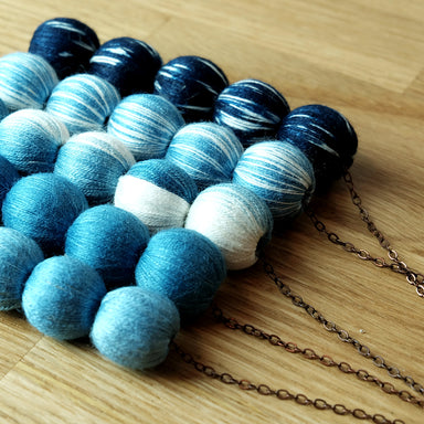 Natural dyed cotton ball necklace - Summer Made