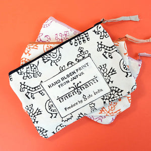 Woodblock printed pouch - Summer Made