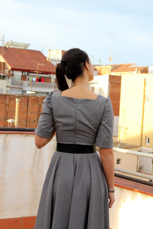 Square Neck Dress In Gray