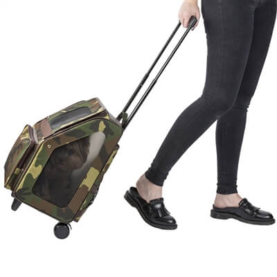Petote Rio Wheeled Dog Carrier - Camo - wheeled view