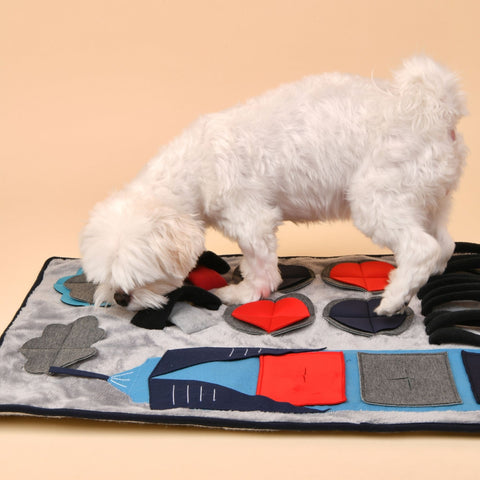 Puppia Puptropolis nosework mat for dogs with dog model