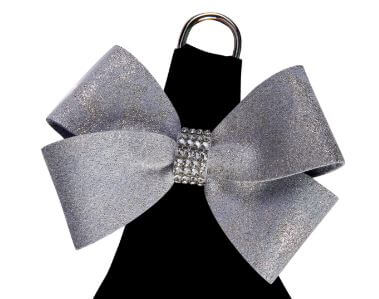 Black Glitzerati Nouveau Platinum Bow Step in Dog Harness