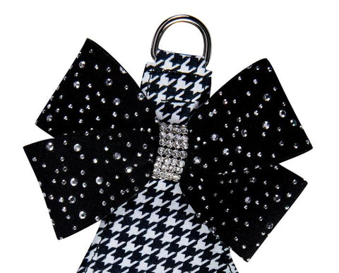 Susan Lanci Black & White Houndstooth Silver Stardust Nouveau Bow Step In Dog Harness
