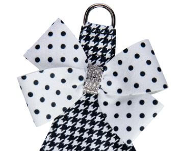Susan Lanci Houndstooth Polka Dot Nouveau Bow Step In Dog Harness