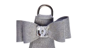 Susan Lanci Designs Platinum Glitzerati Big Bow Step-in dog harness