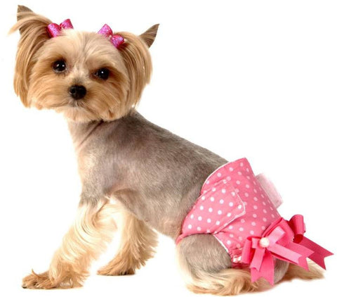 pink polka dot female dog diaper