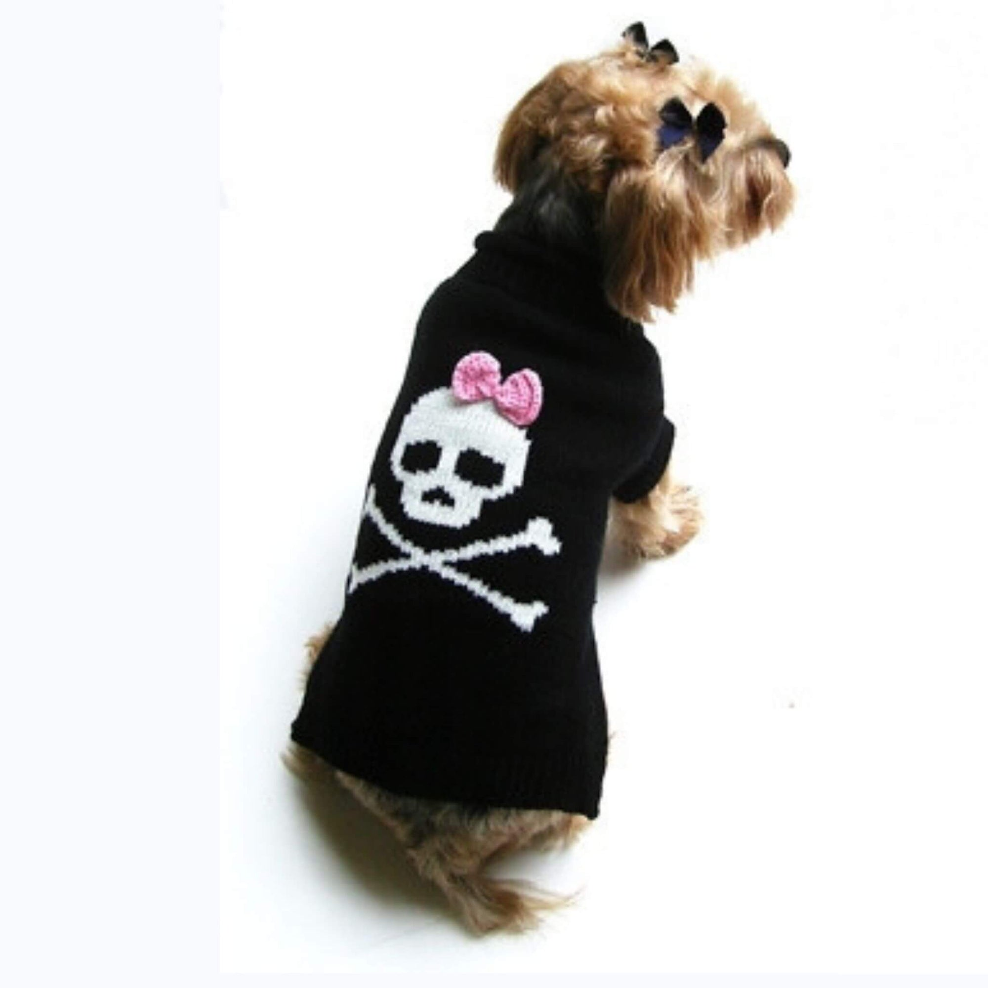 Dallas Dogs Jolly Roger Skull with Pink Bow Dog Sweater