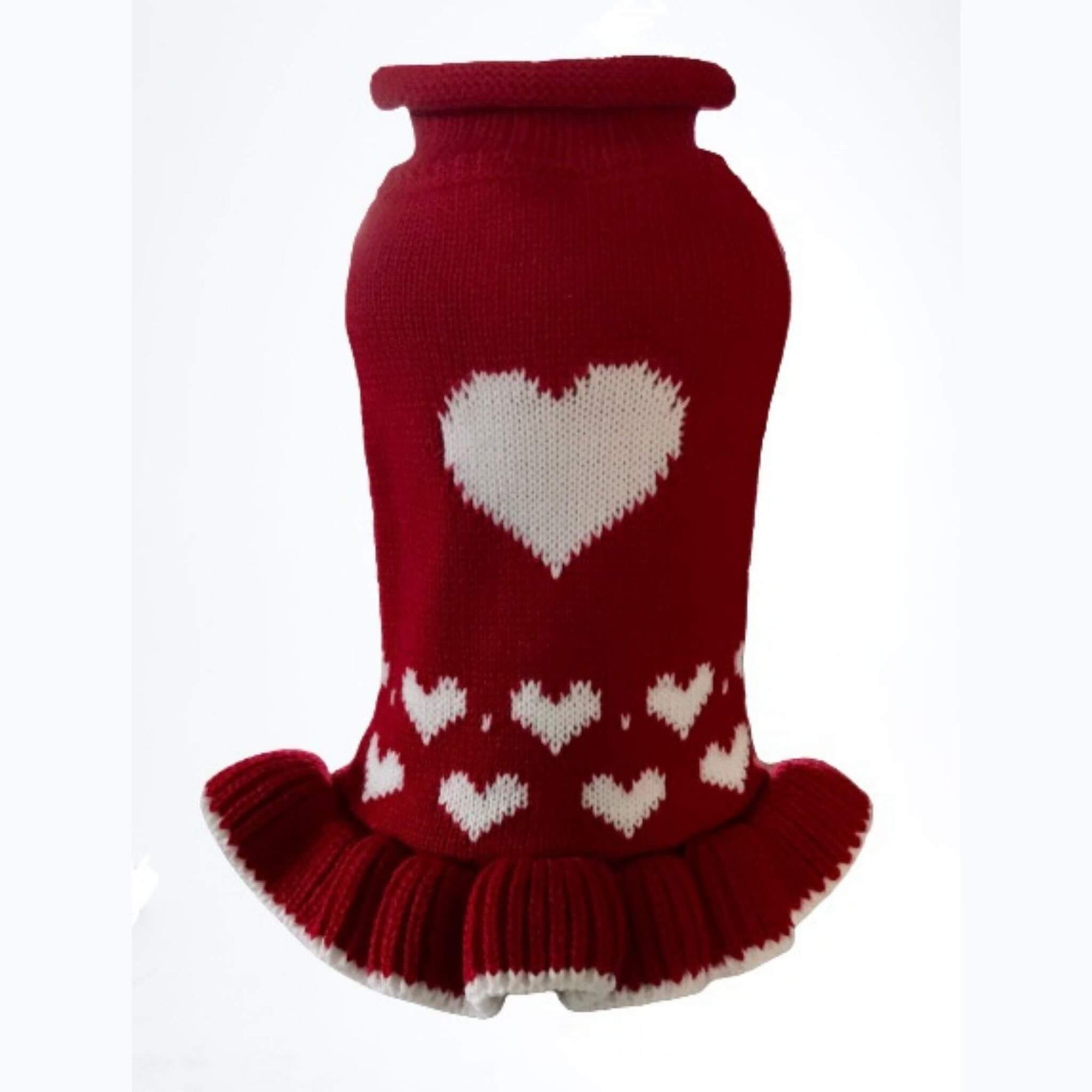 Dallas Dogs Red Heart Dog Sweater Dress