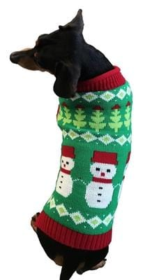 Dallas Dog Snowmen Dog Sweater - Model