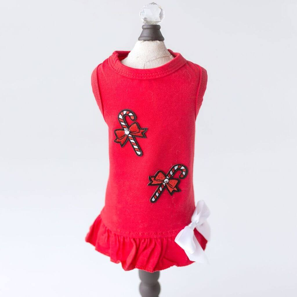 Hello Doggie Candy Cane Dog Dress
