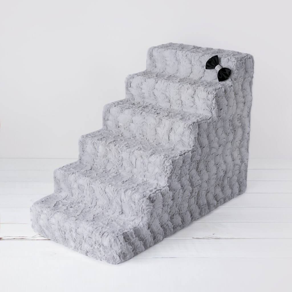 dog stairs - hello doggy dog steps - dove grey 6 step