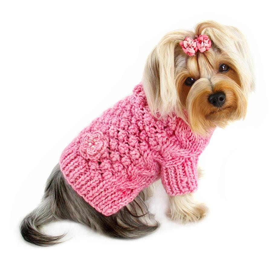 pink turtleneck dog sweater on yorkie