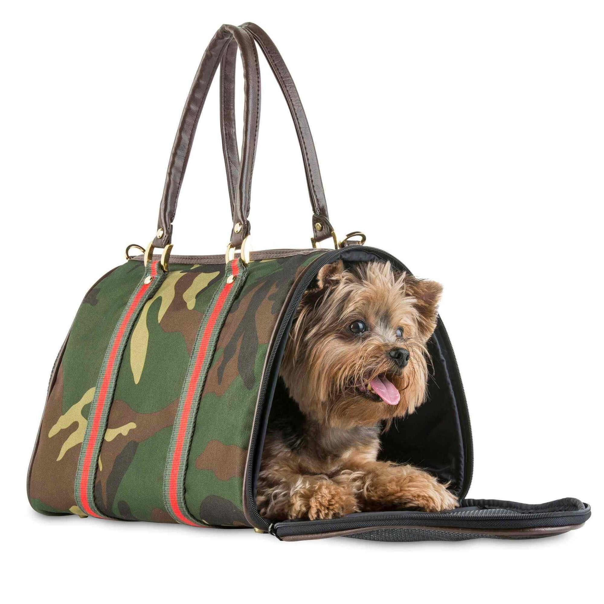 Petote JL Duffel Camo Small Dog Carrier - with Yorkie inside