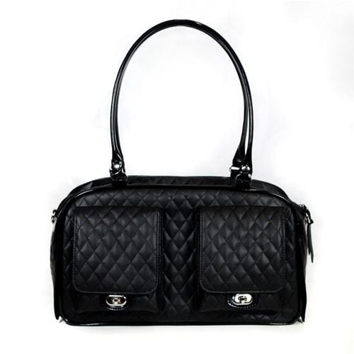Petote Marlee Dog Purse - Black Quilted