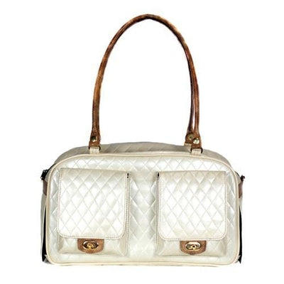 Petote Marlee Dog Purse - Ivory Quilted