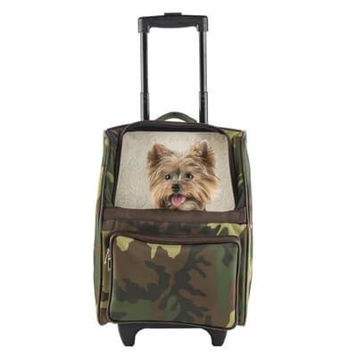 Petote Rio Camo Dog Carrier with Wheels - Airline Approved