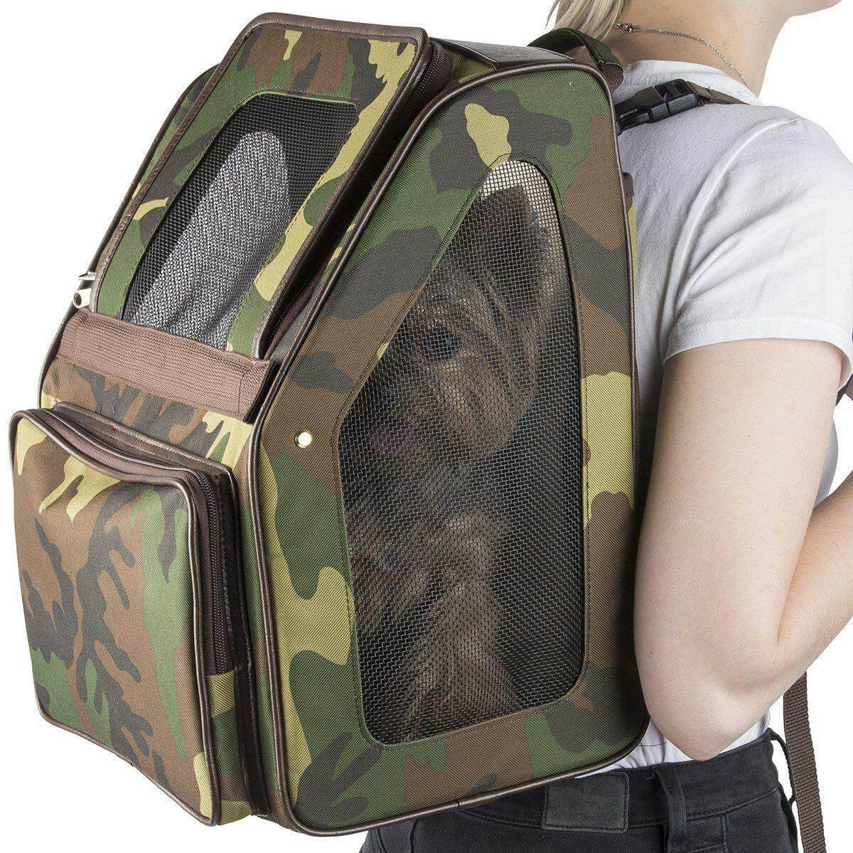Petote Rio Camo Dog Carrier with Wheels - Backpack