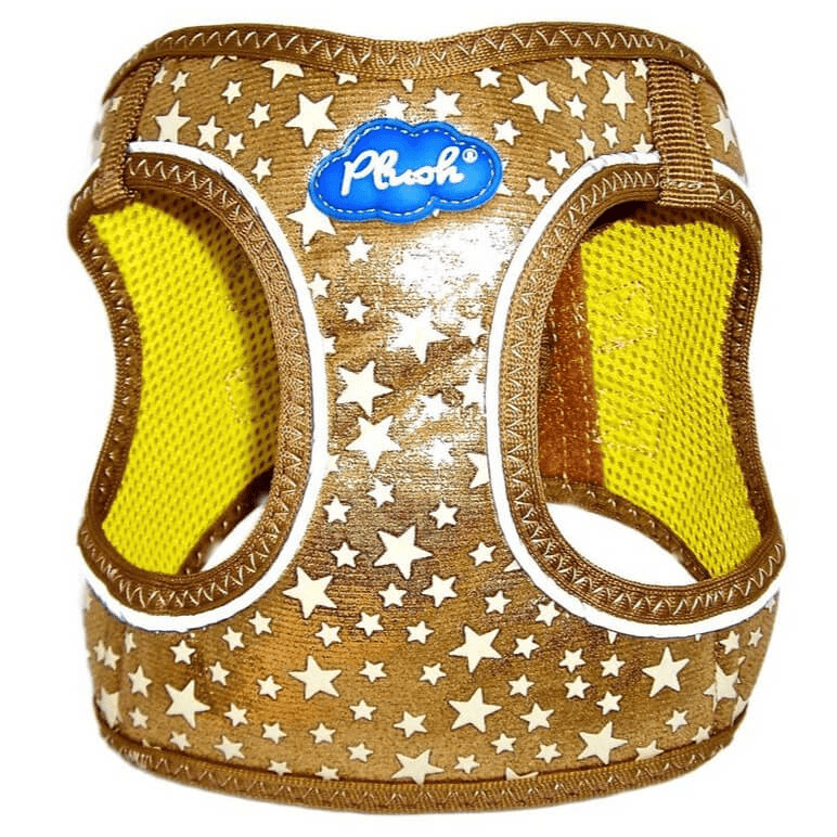 plush glitter glow dog harness - gold