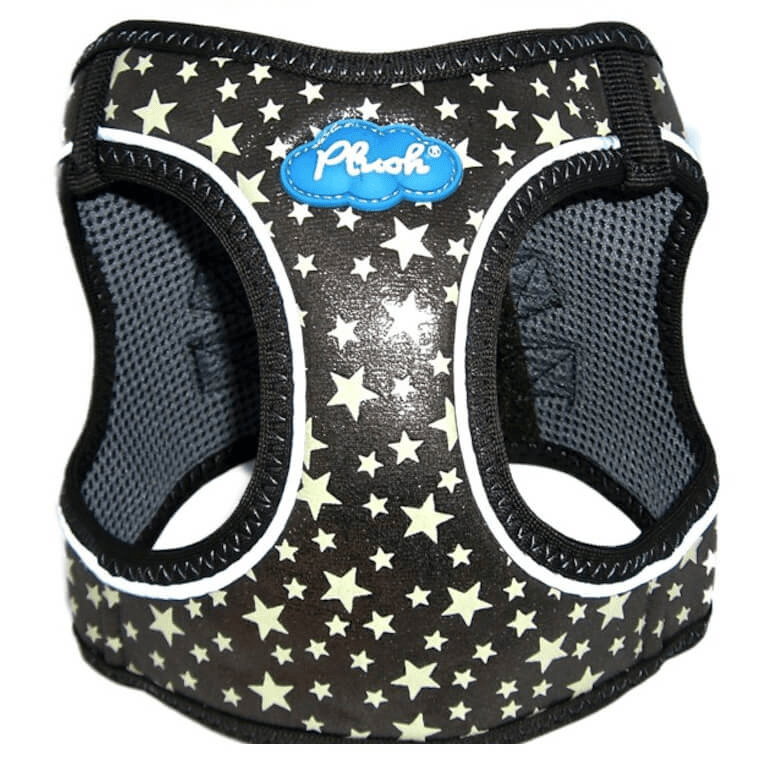 plush glitter glow dog harness - gunmetal