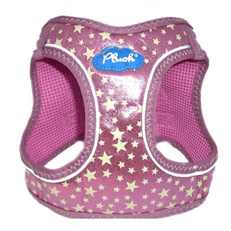 plush glitter glow dog harness - pink