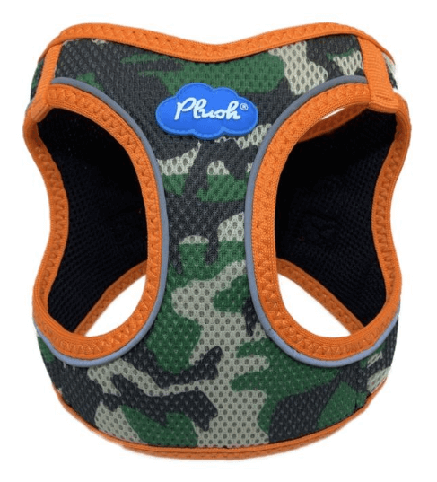 Plush Orange Camo Step-in dog harness