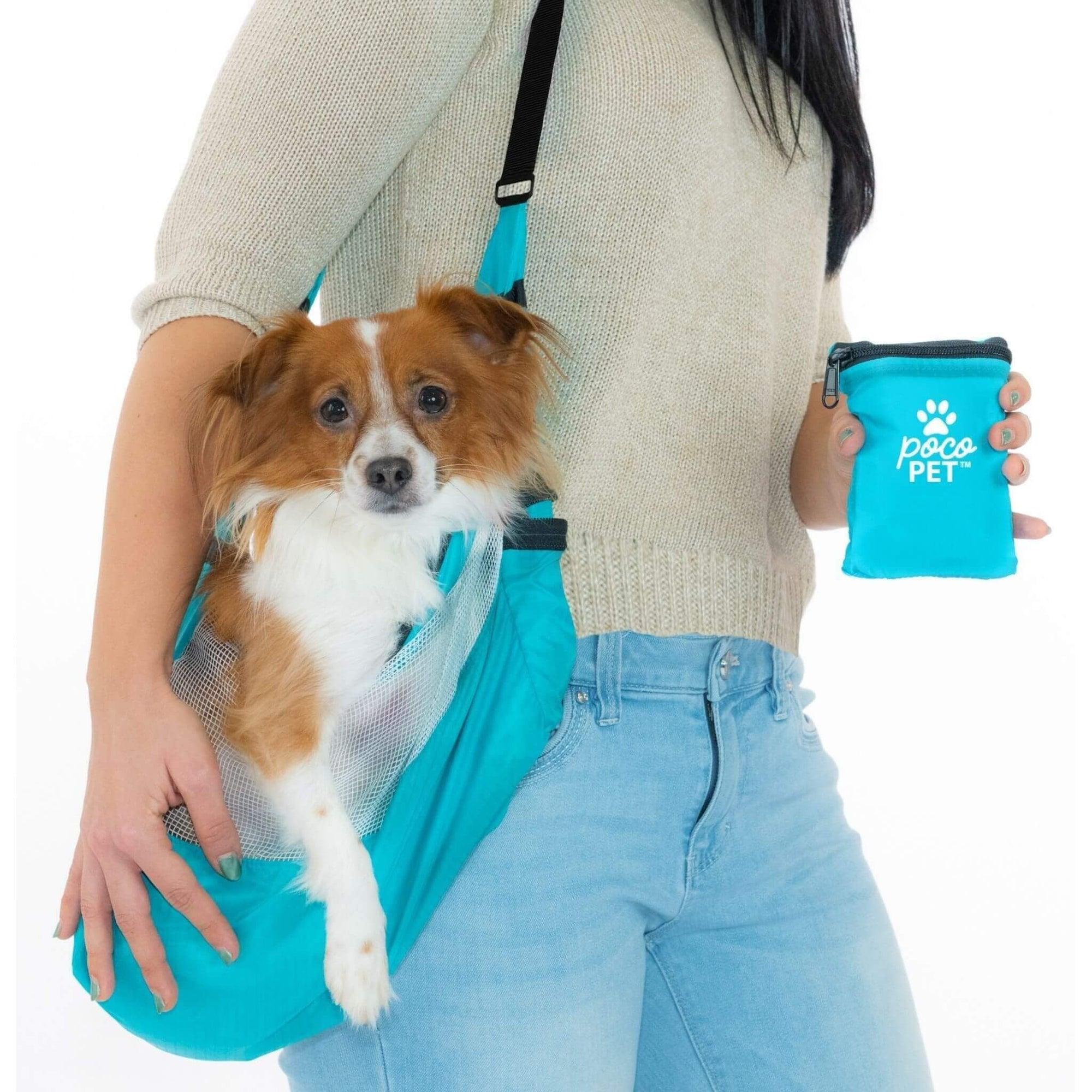 PocoPet Packable Dog Carrier - Blue with Model