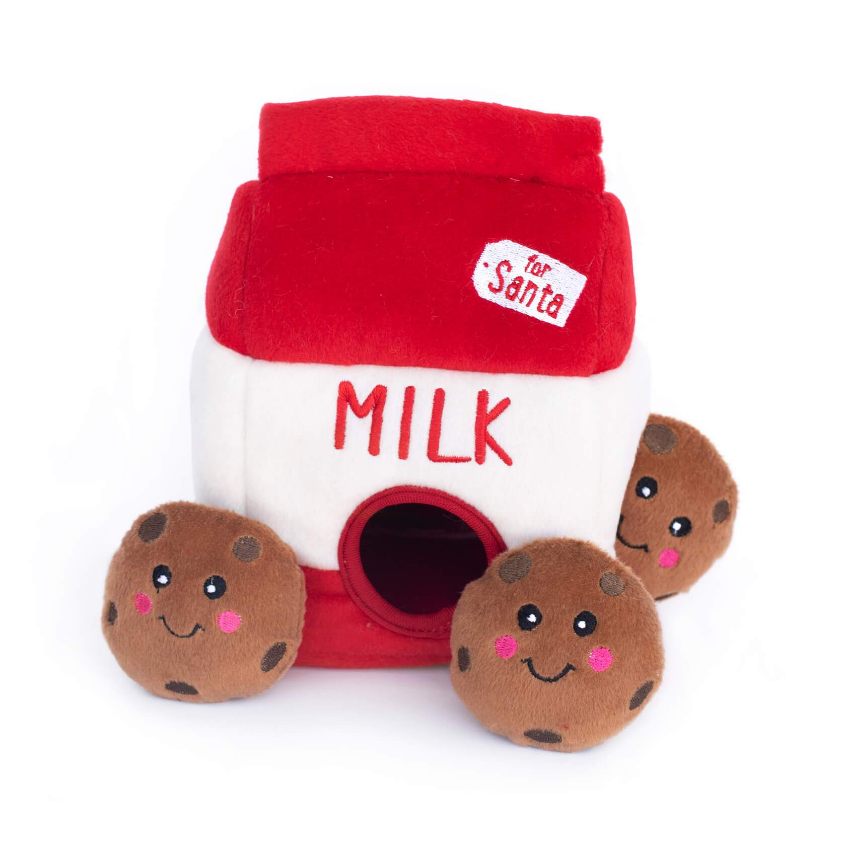 Zippy Paws Santa's Milk and Cookies Plush Dog Toy 1