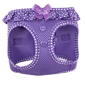 american river polka dot dog harness - purple