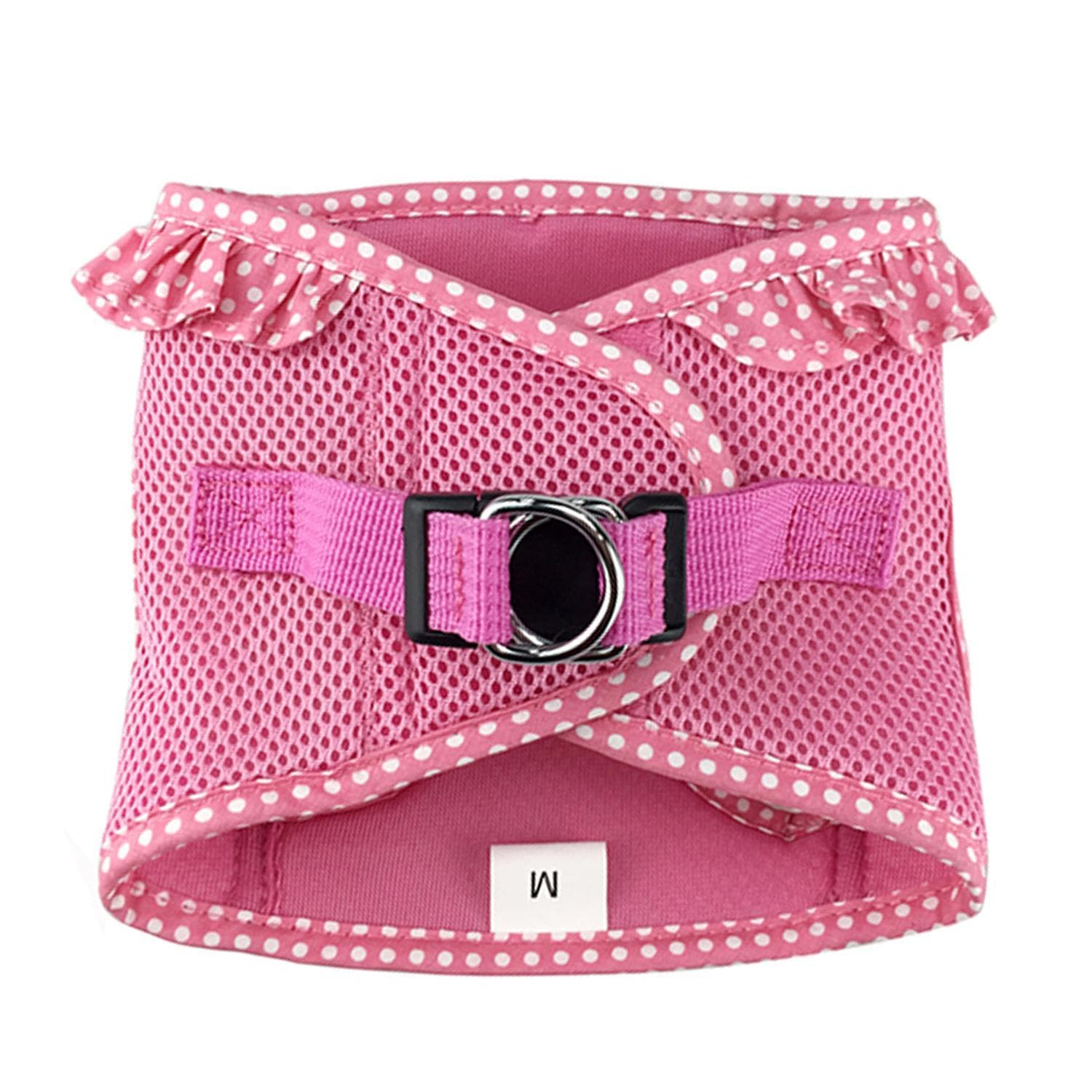 polka dog step-in dog harness - pink - top