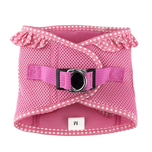 american river polka dot dog harness - pink - top