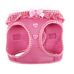 polka dog step-in dog harness - pink - front