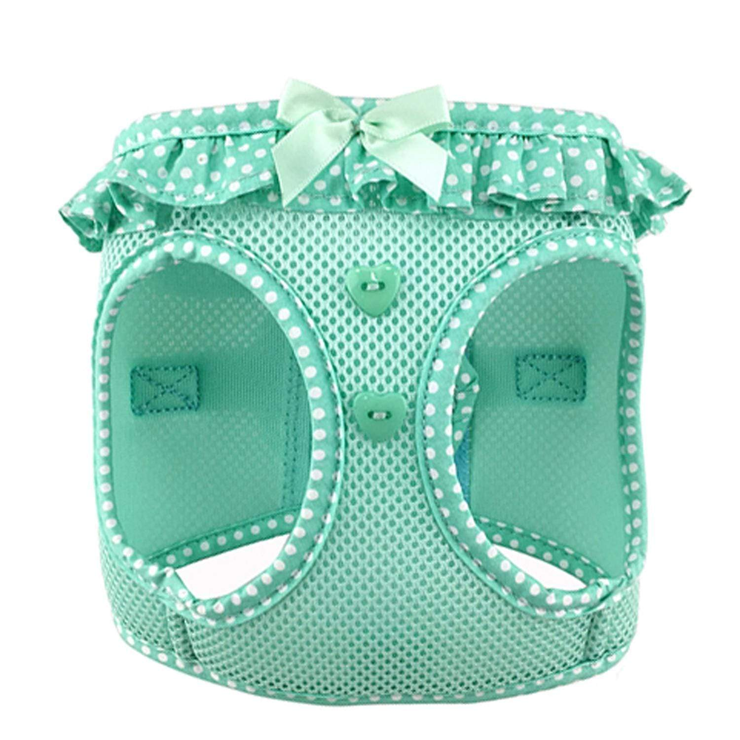 polka dog step-in dog harness - teal - front