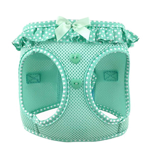american river polka dot dog harness - teal