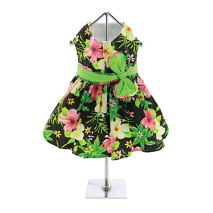Apparel - Twilight Black Hawaiian Hibiscus Dog Dress With Matching Leash