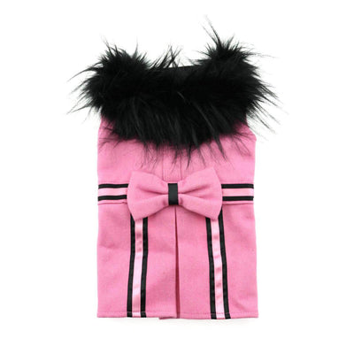 Pink Wool Dog Coat With Faux Fur Trim