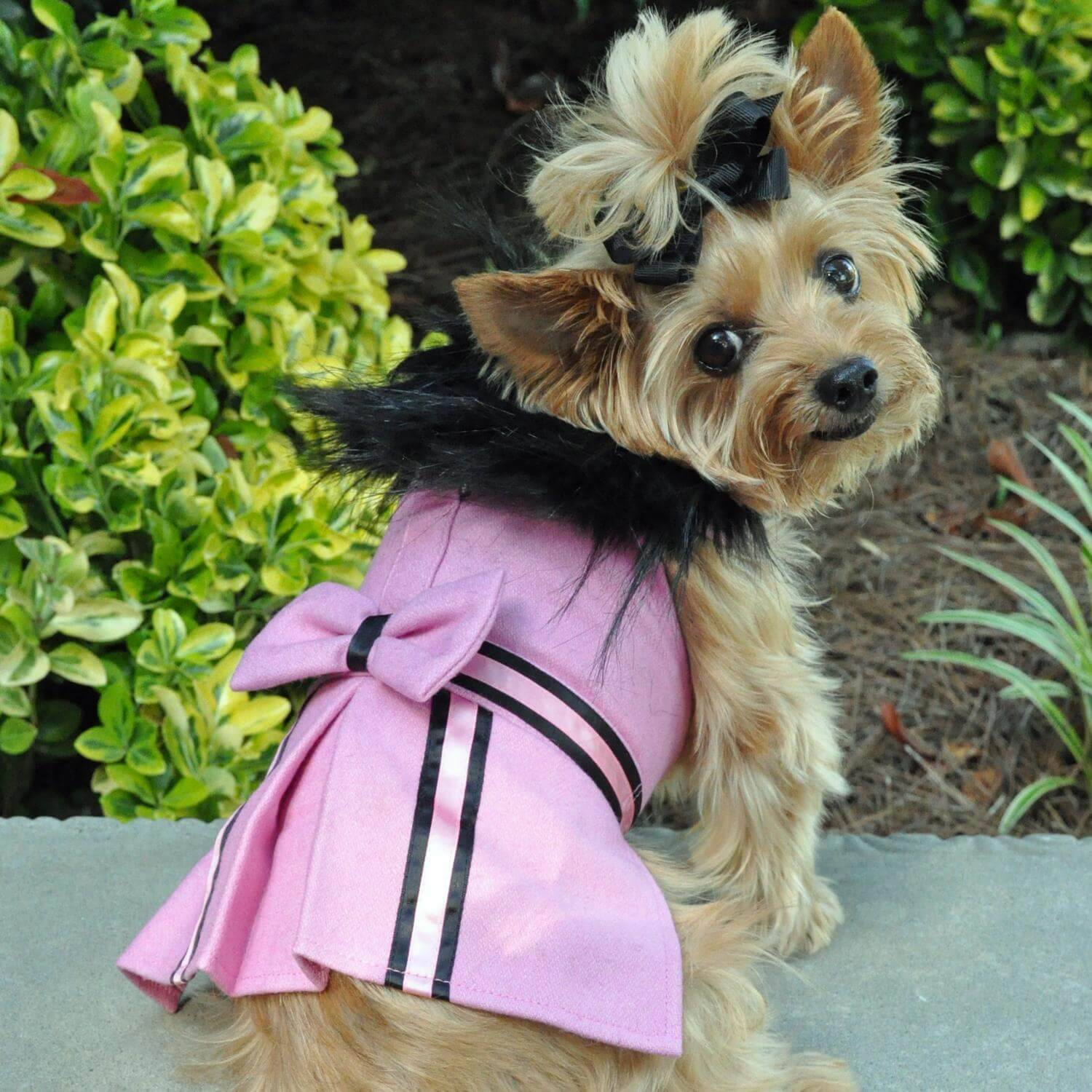 Pink Wool Dog Coat With Faux Fur Trim - Yorkie