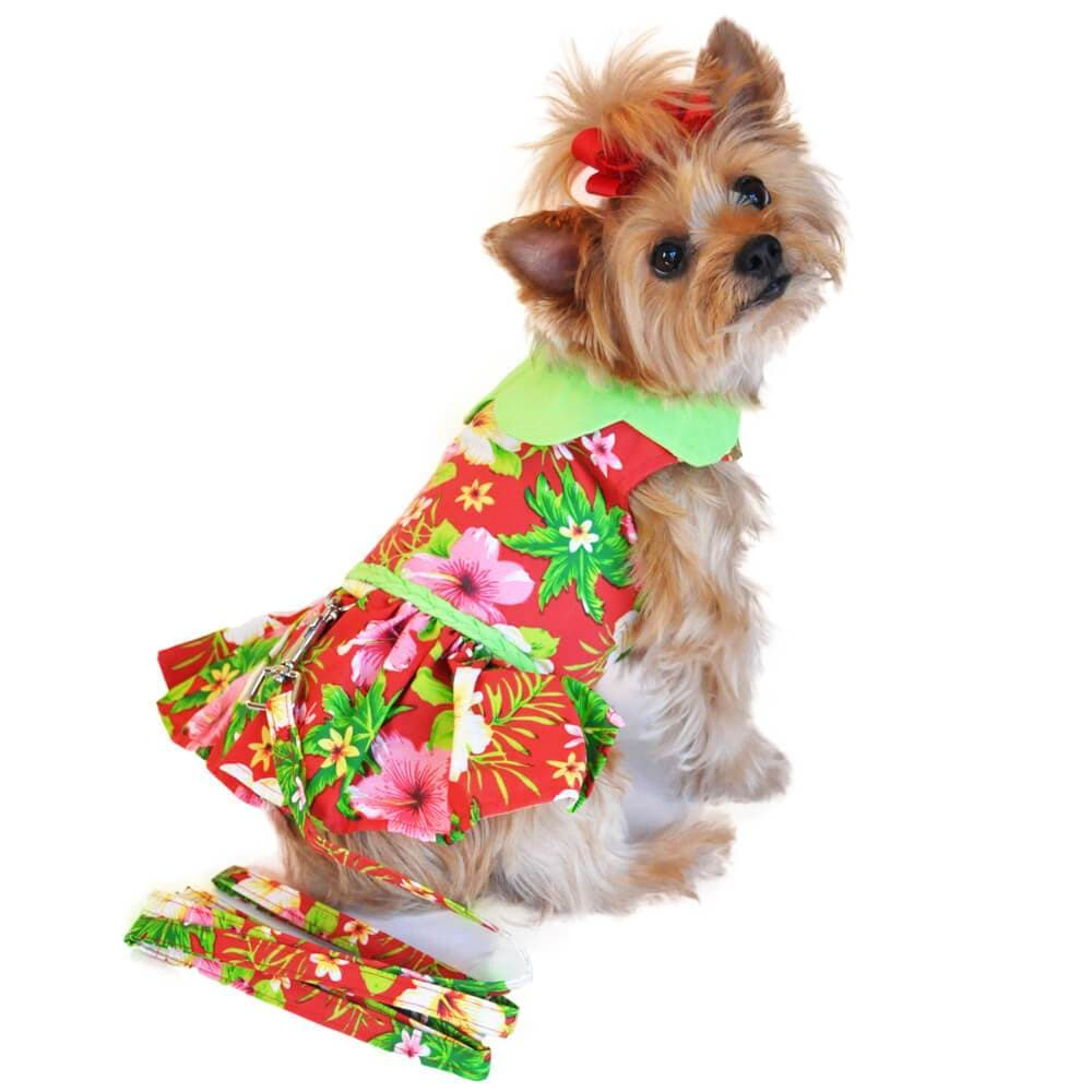 Red Hawaiian Hibiscus Dog Dress - Yorkie