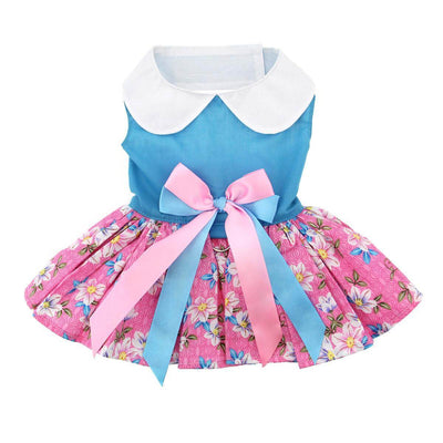 pink and blue plumeria dog dress - back