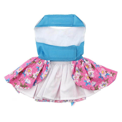 pink and blue plumeria dog dress - front