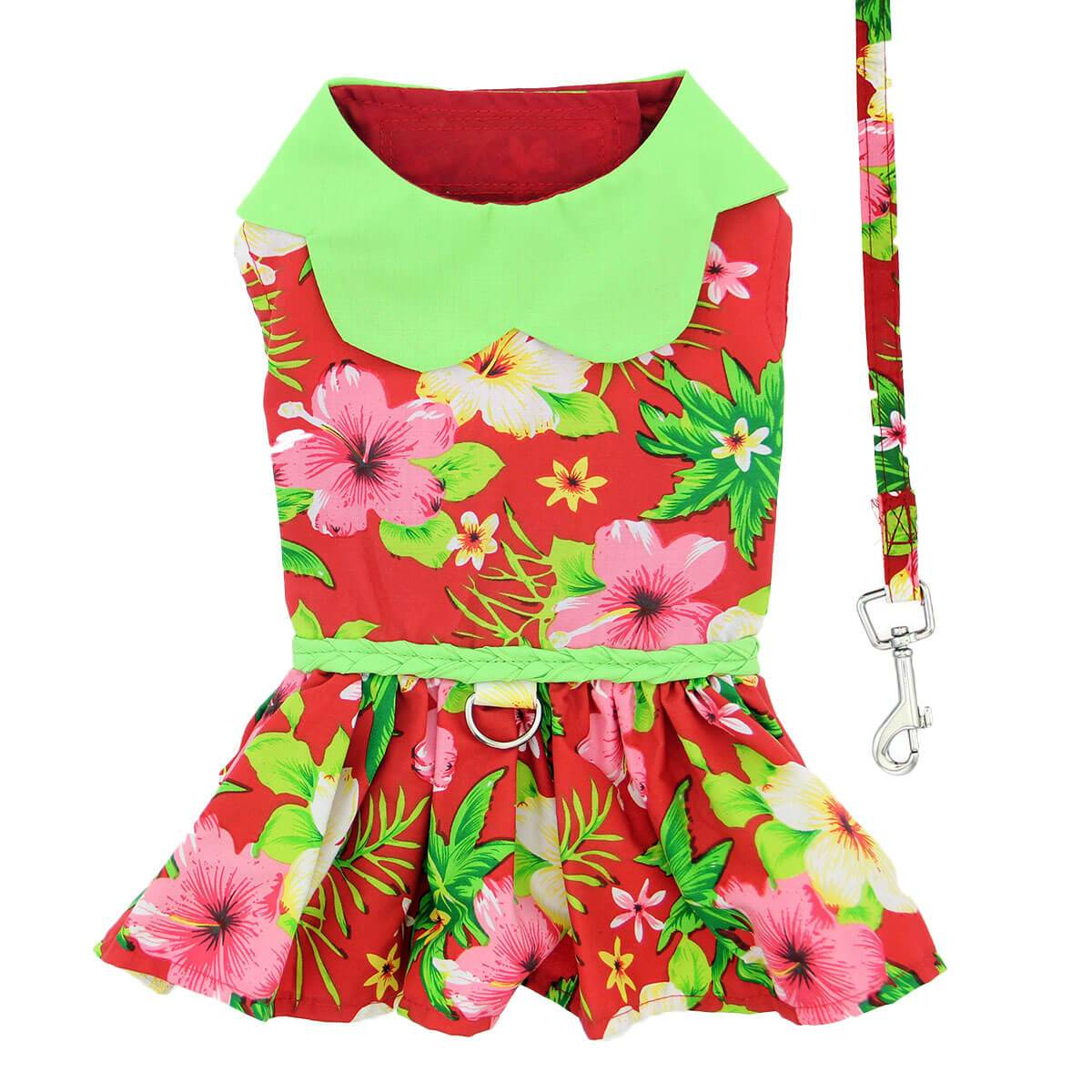 Red Hawaiian Hibiscus Dog Dress - Back