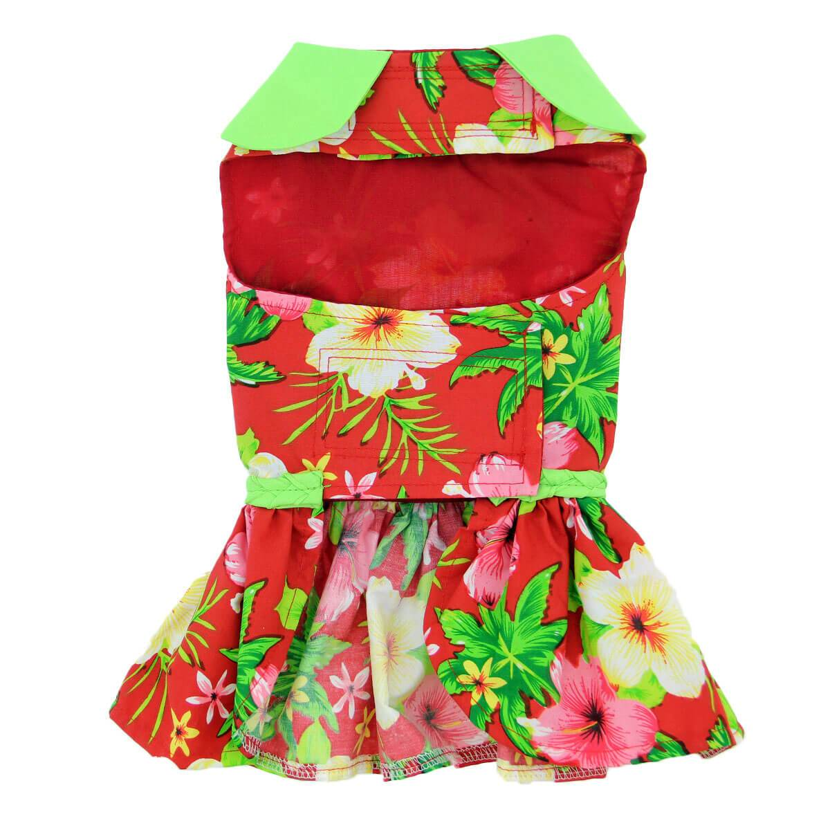 Red Hawaiian Hibiscus Dog Dress - Tummy