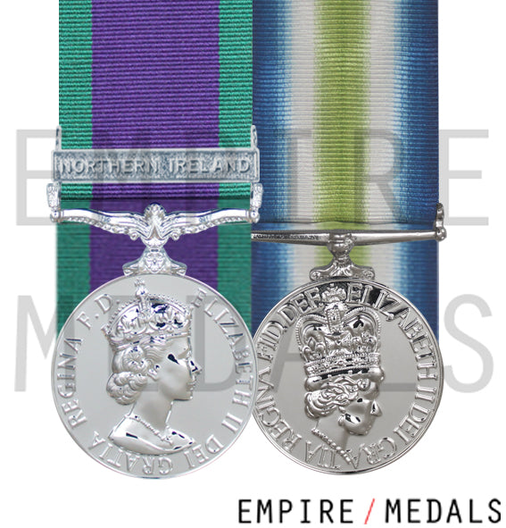 Northern Ireland and falklands medal court mounted