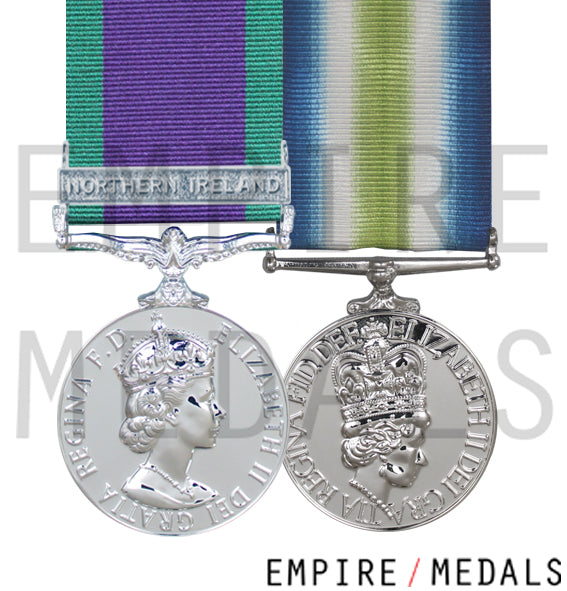 Northern Ireland and falklands medal swing mounted