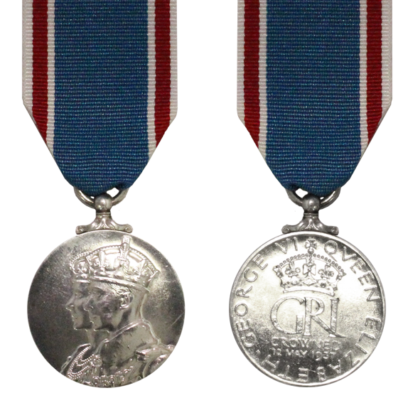 1937 King George VI Full Size Coronation Medal and Ribbon
